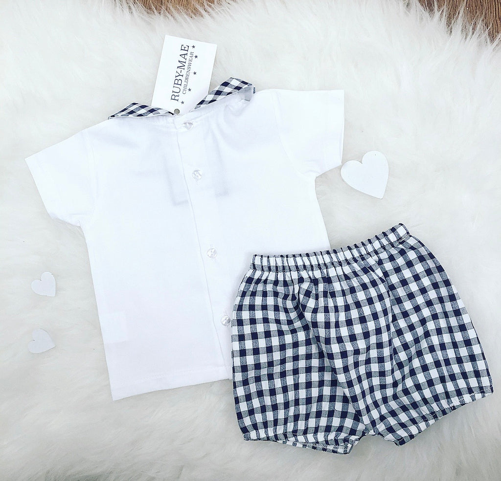 Navy And White Check Two Piece Outfit Set - Harvey
