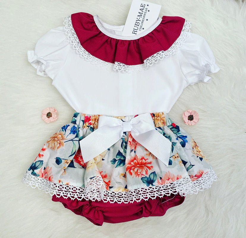 White & Plum Floral Printed Bow Front Dress With Matching Knickers Outfit - Aria