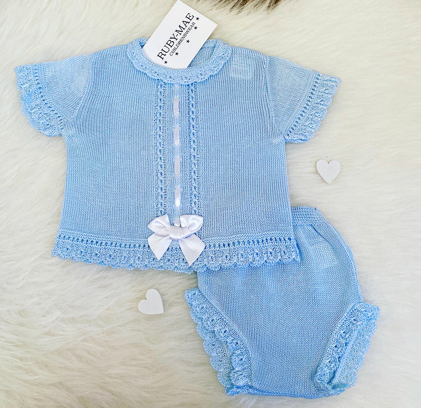 Blue Bow Front Dress With Matching Knickers Outfit - Sophia