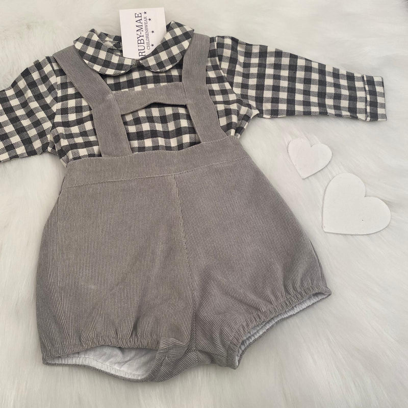 Grey Gingham H-bar Dungaree Set Outfit - Joe