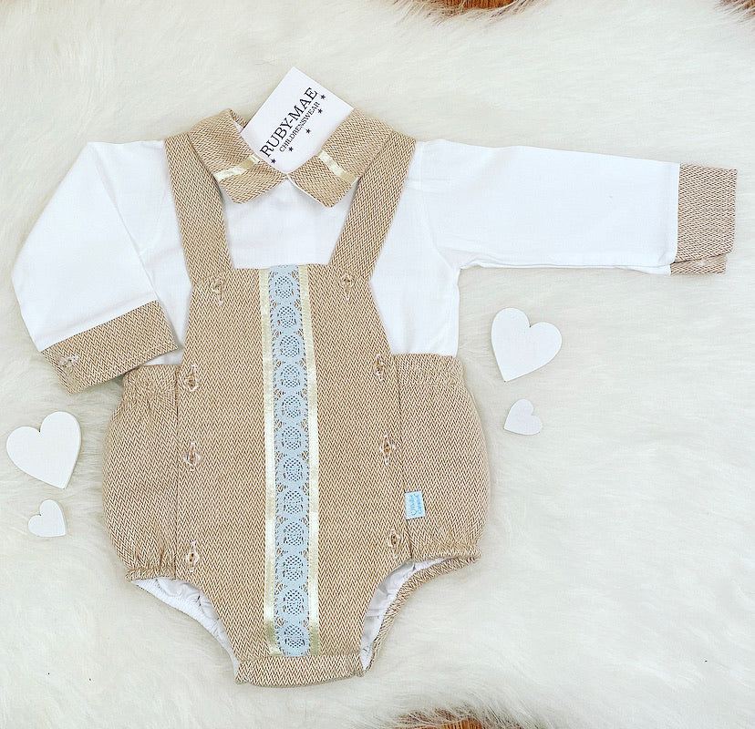 PREMIUM White & Camel Dungaree Outfit Set - Hector