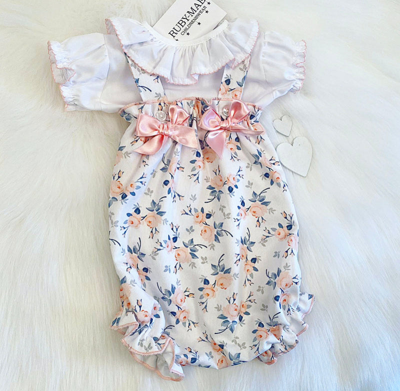 PREMIUM Peach Floral Frill Neck Blouse With Matching Dungaree Romper Set - Elizabeth