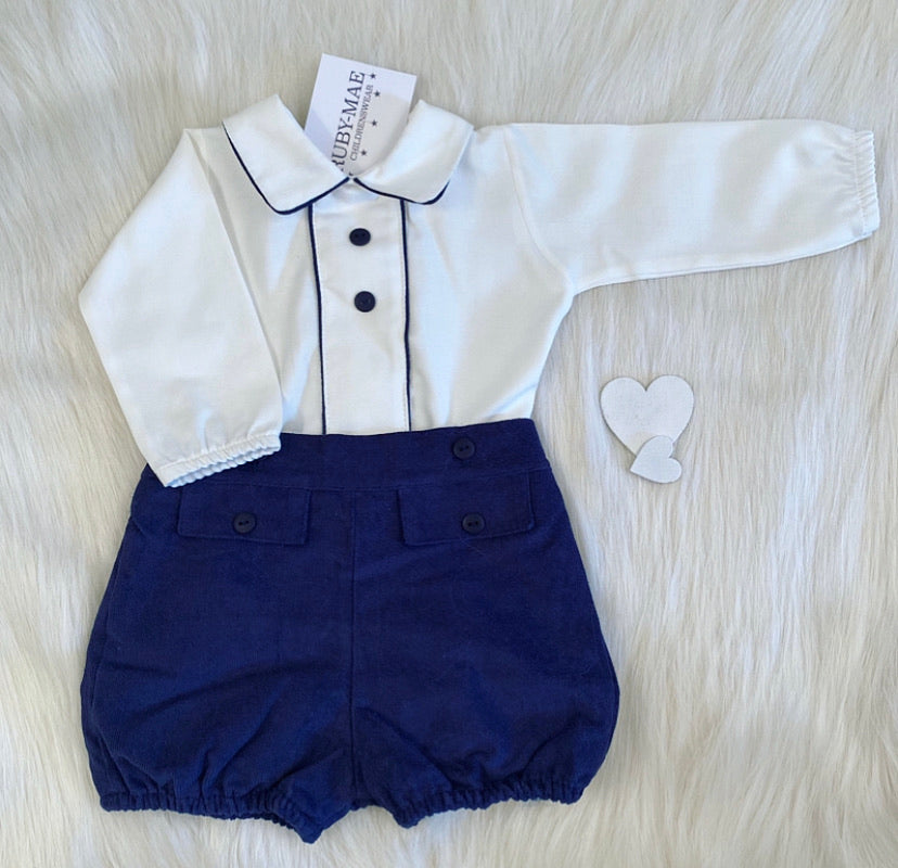 PREMIUM White & Navy Shirt & Shorts Outfit Set - Kirby