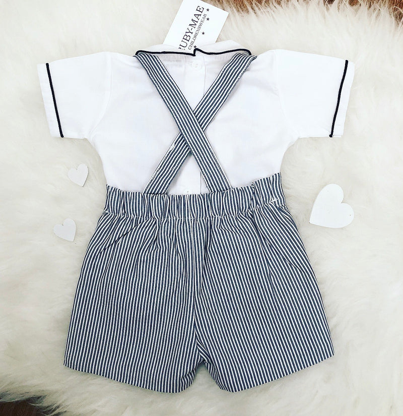 Navy And White Stripe Dungaree Outfit - Noah