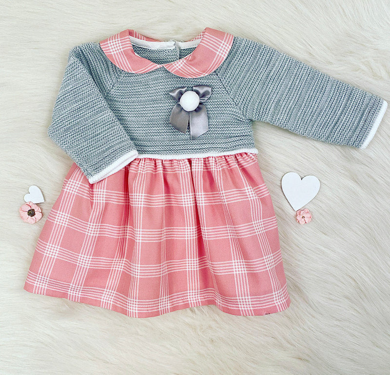 Grey With Pink Check Bow Front Dress - Gigi