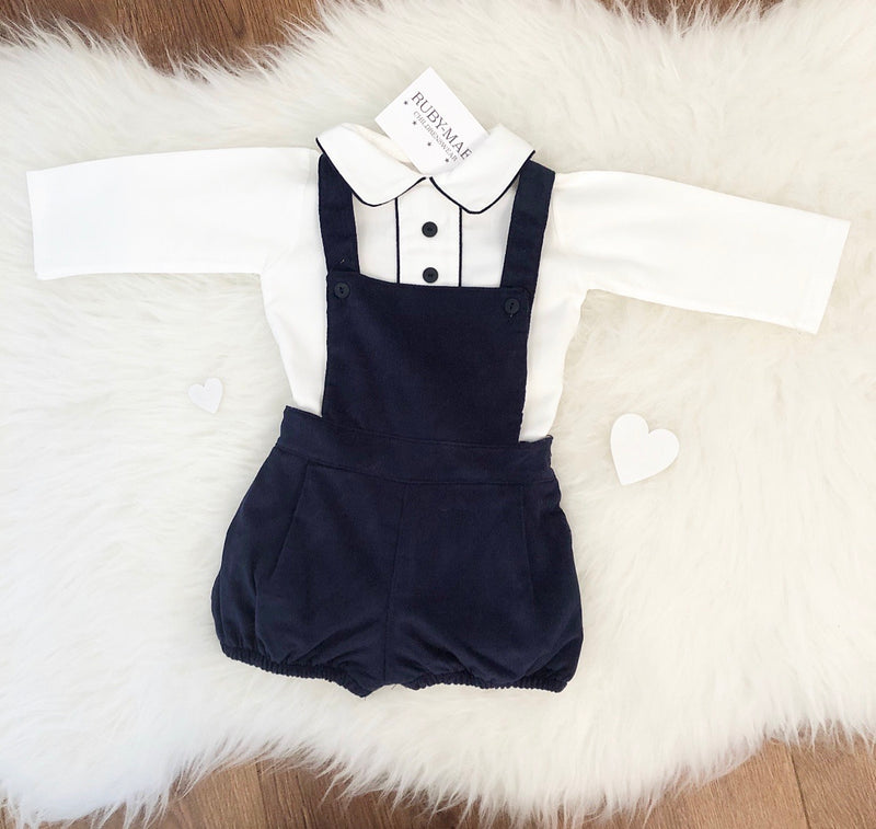 Navy And White H Bar Spanish Two Piece Outfit - Troy
