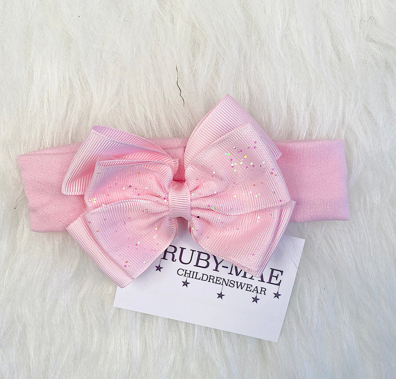 Pink Glitter Lace Bow Headband