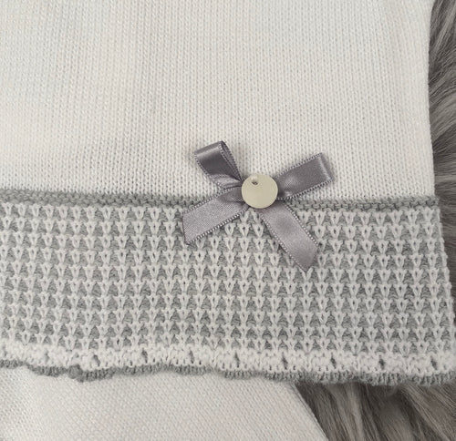 White With Grey Frill Neck Front Knitted Jumper & Pants Outfit With Matching Hat