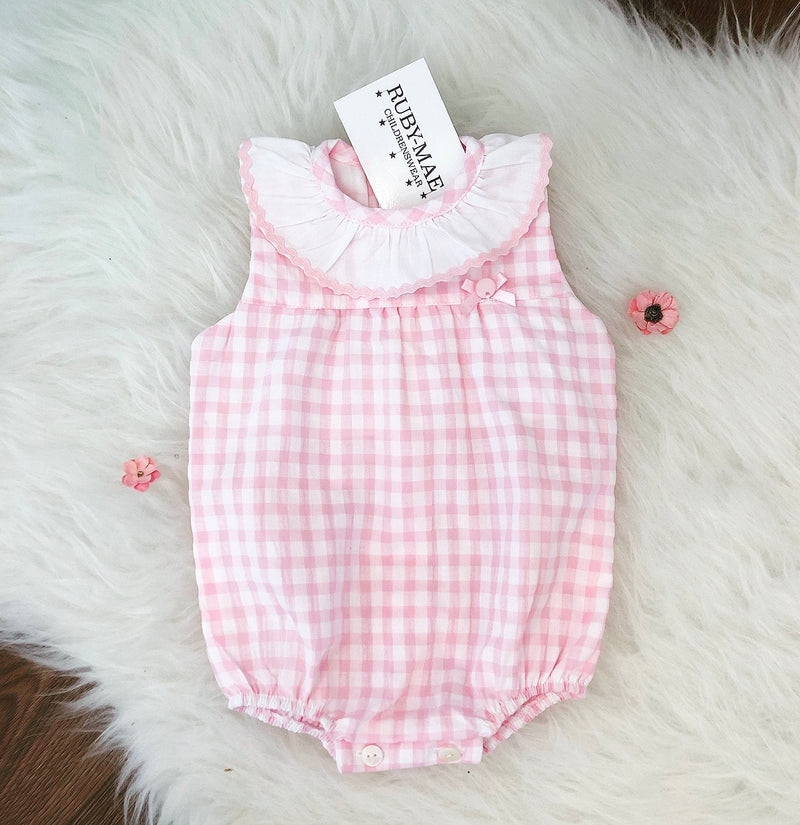 Pink And White Gingham Romper - Natalie