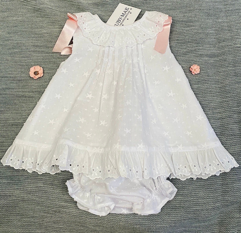 White Star Pressed Dress With Matching Knickers - Ellie