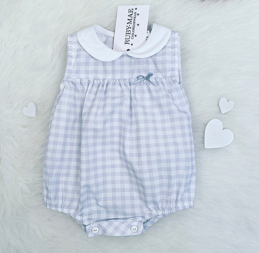 Grey And White Gingham Romper - Mia