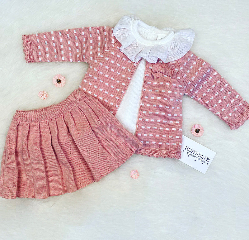 Dusky Pink & White Skirt, Jumper And Cardigan 3 Piece Outfit - Cali