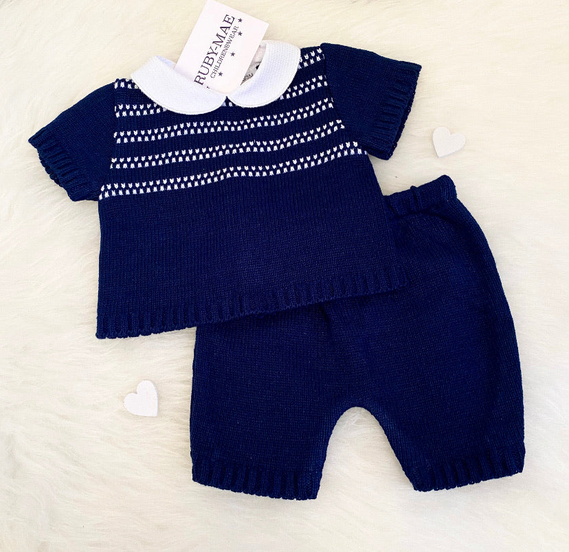 White & Navy Knitted Stripe Two Piece Outfit - Jacob