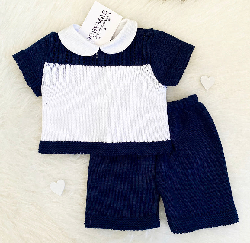 White & Navy Knitted Stripe Two Piece Outfit - Jack