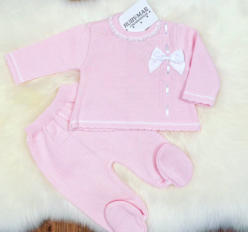 Pink Bow Front Knitted Two Piece Set - Cely