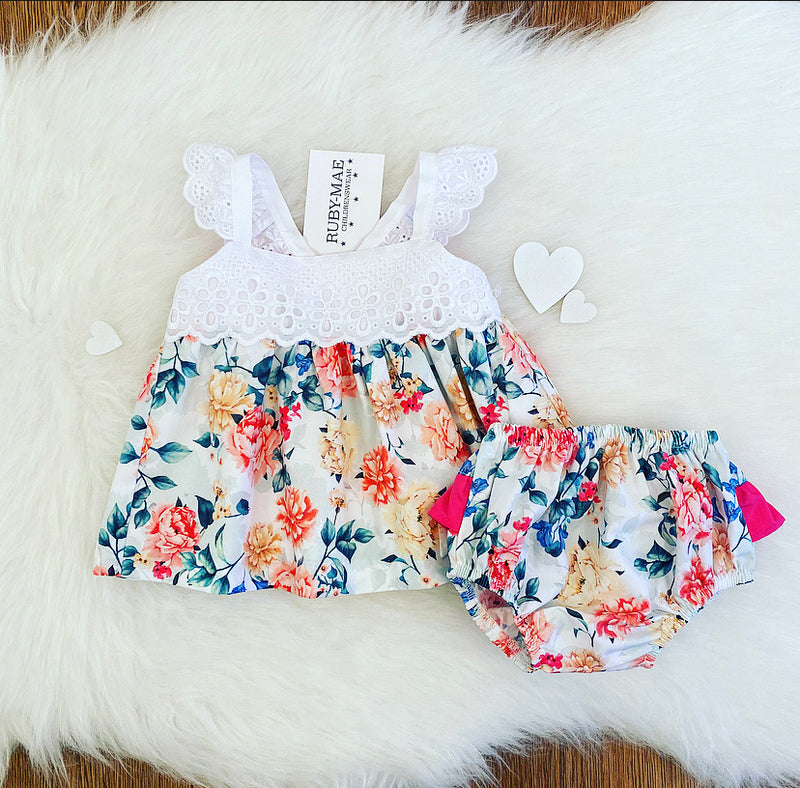 PREMIUM Floral Dress With Matching Knickers - Daniella
