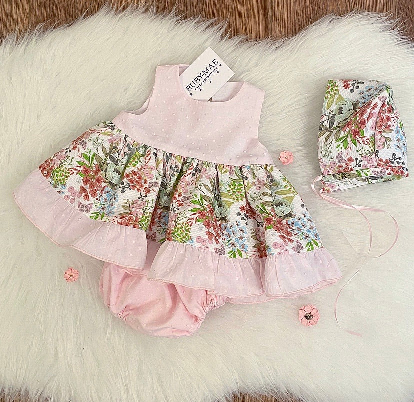 PREMIUM Pink Floral Dress With Matching Knickers And Hat - Antonia