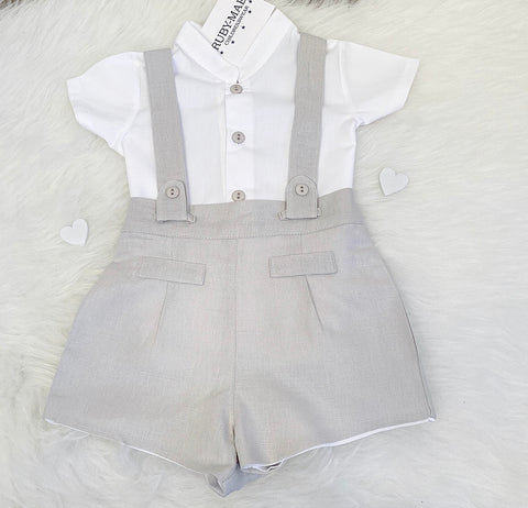 Navy Blue And White Romper - Grayson
