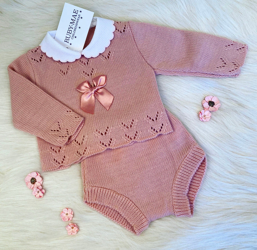 Dusky Pink Knitted Two Piece Outfit - Natasha