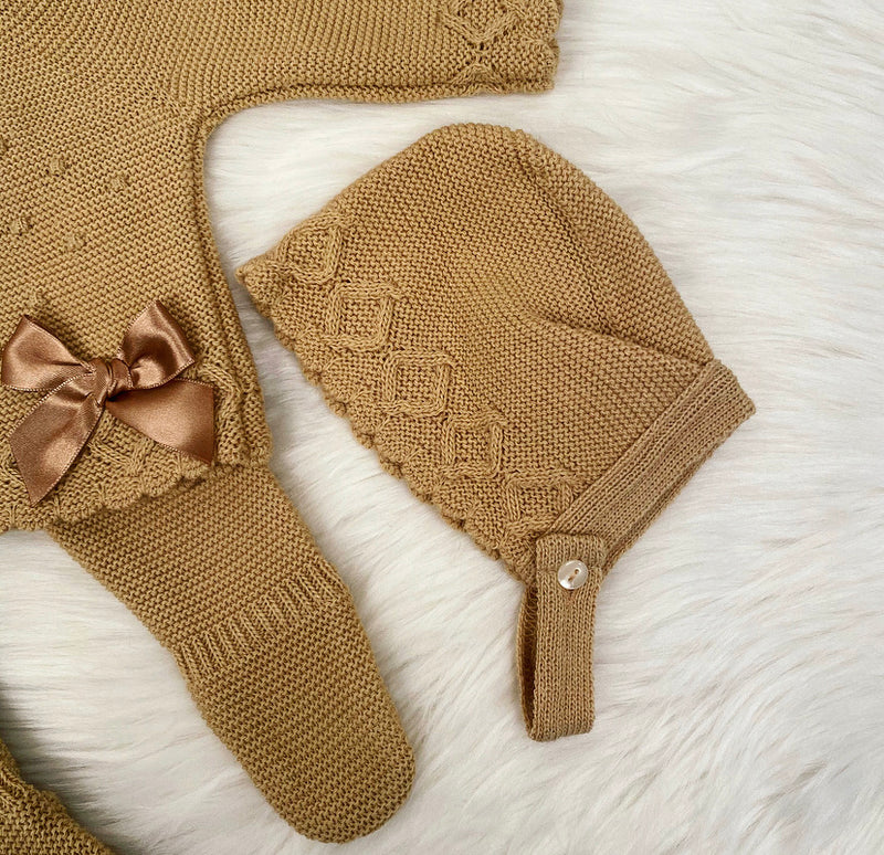 Coffee Bow Knitted Long Legged Two Piece Set - Mollie