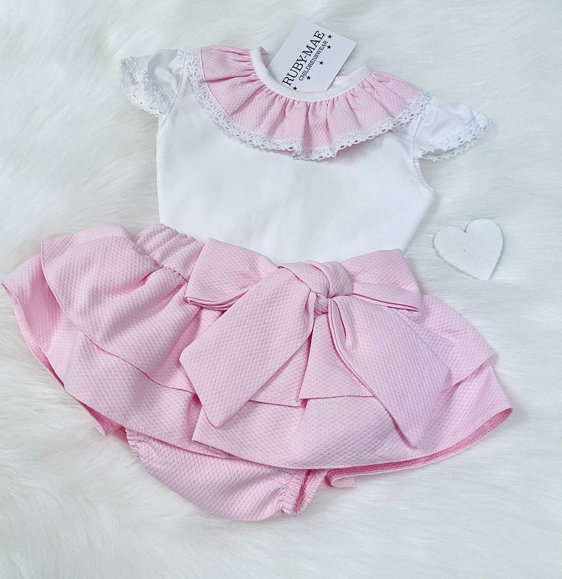 PREMIUM Pink & White Blouse With Matching Skirt Outfit - Chloe