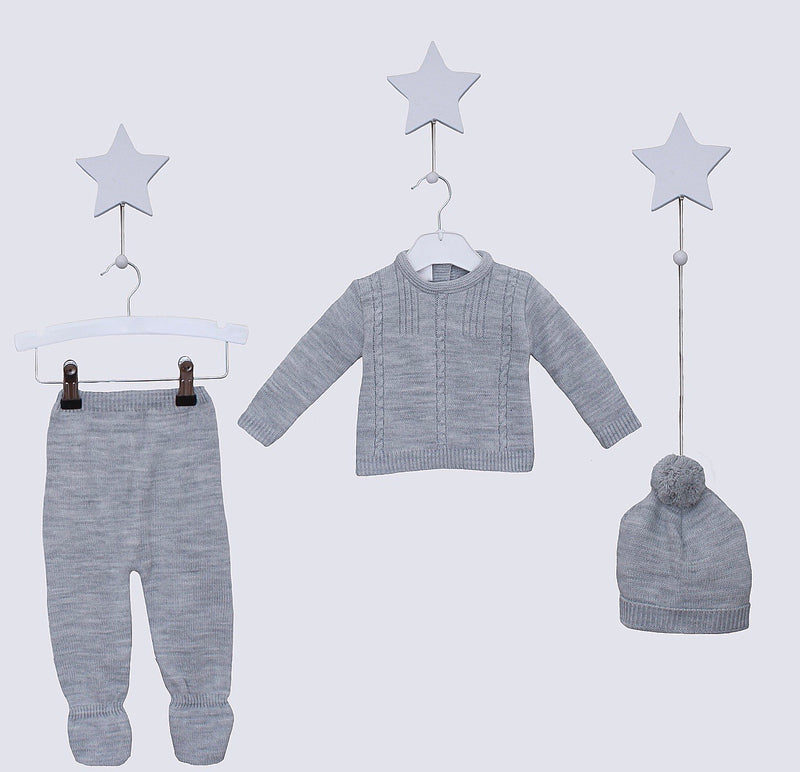Grey Knitted Outfit With Matching Hat - Chester