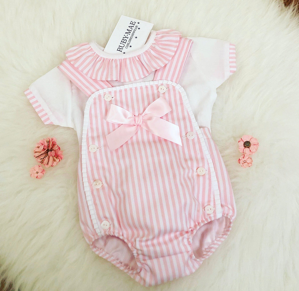 Pink And White Stripe Dungaree Outfit - Adelaide