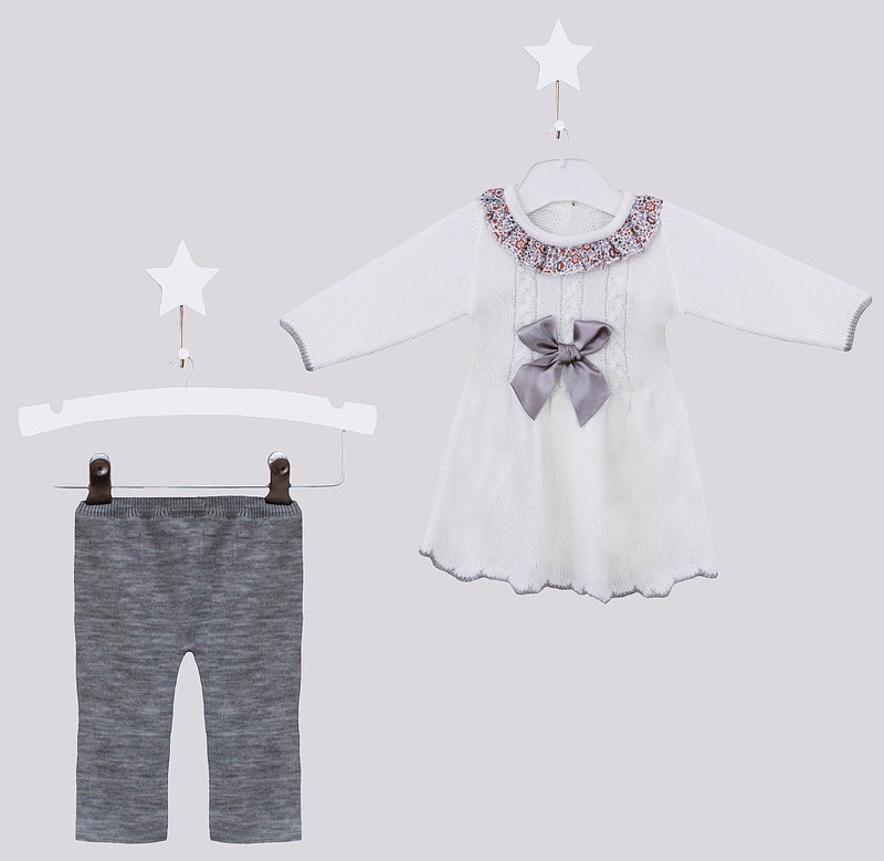 White & Grey Knitted Jumper And Pants Two Piece Outfit - Jasmin