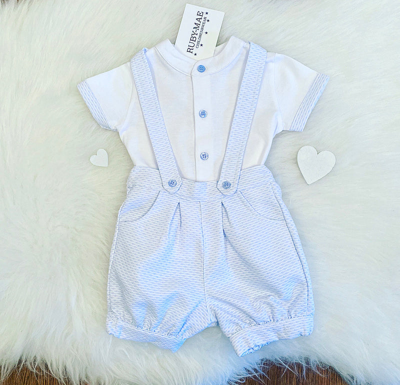 Blue And White Dungaree Outfit Set - Ethan