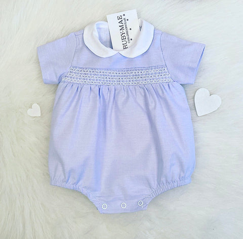 Blue And White Romper - Grayson