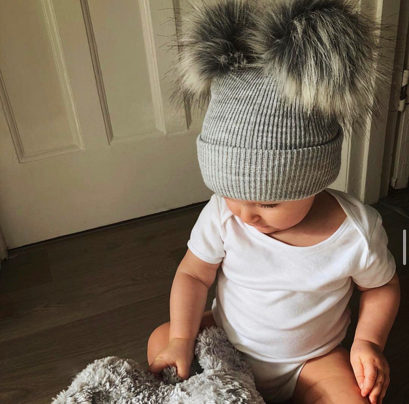 Grey Ribbed Knitted Double Pom Pom Hat
