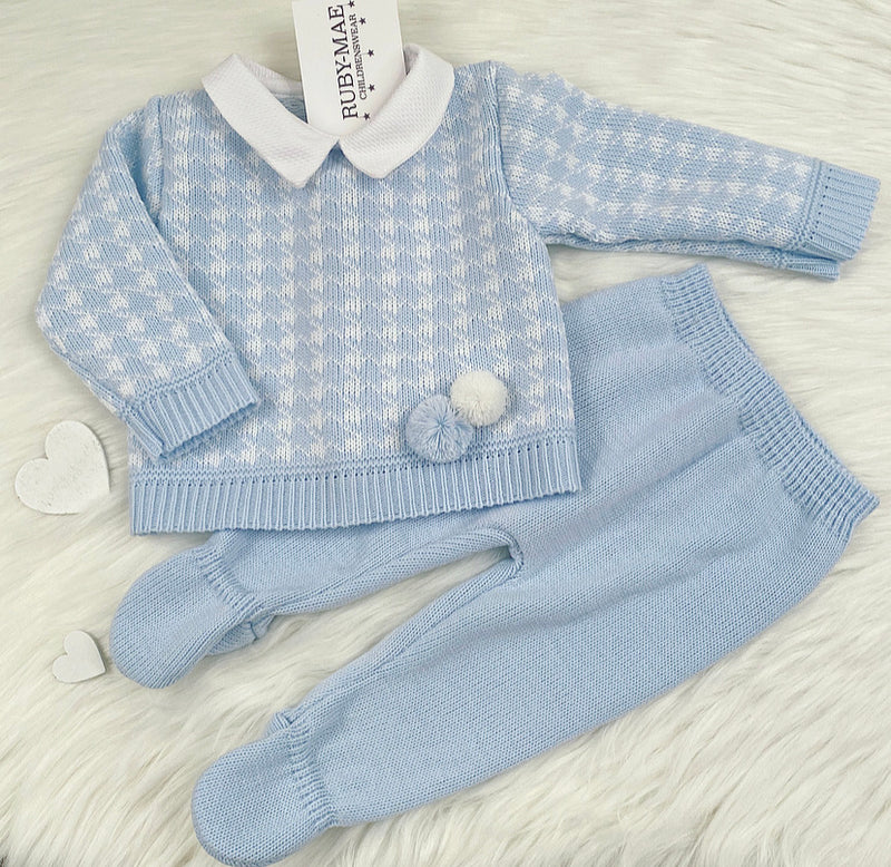 Blue & White Dog Tooth Pom Pom Knitted Two Piece Set - Fred
