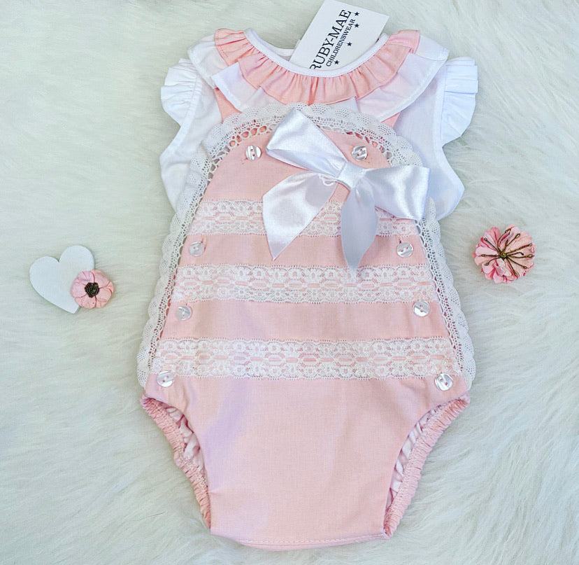 Pink And White Lace Detail Dungaree Outfit - Scarlett
