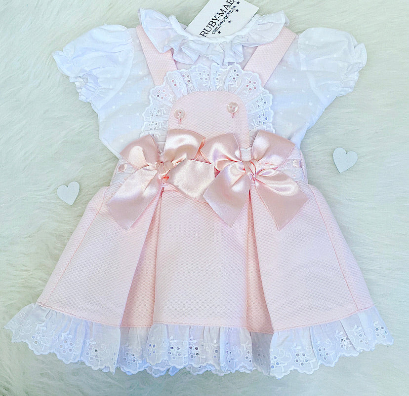 Pink And White Lace Ruffle Detail Dress Outfit - Gemma
