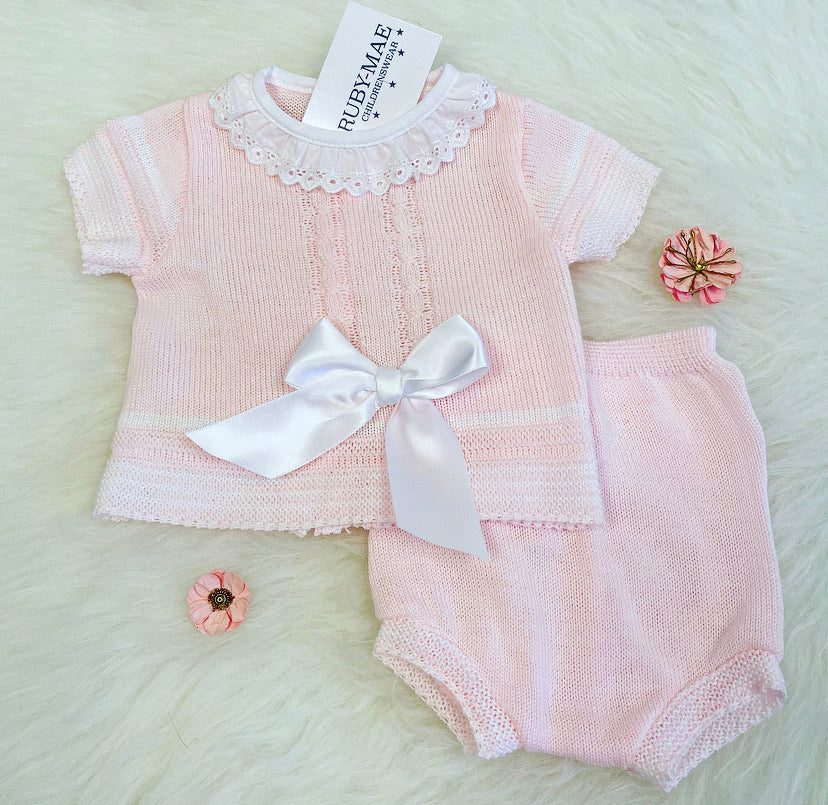 Pink Bow Front Dress With Matching Knickers Outfit - Fabienne