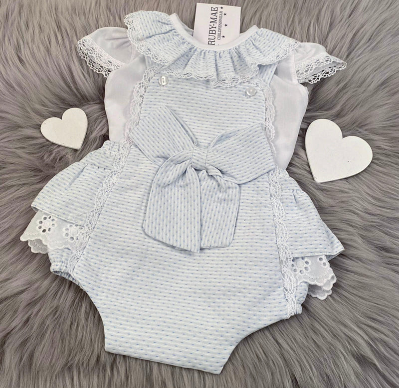 PREMIUM Light Blue Waffle Lace Ruffle Detail Dungaree Outfit - Victoria