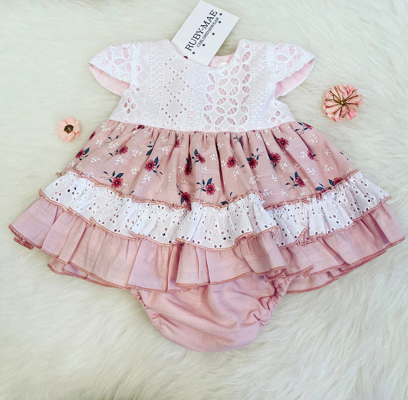 PREMIUM Dusky Pink Floral Dress With Matching Knickers - Fifi