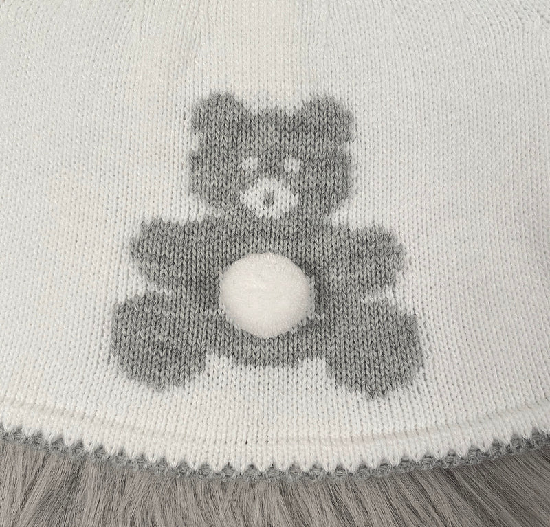 UNISEX White With Grey Teddy Bear Front Knitted Jumper & Pants Outfit With Matching Hat