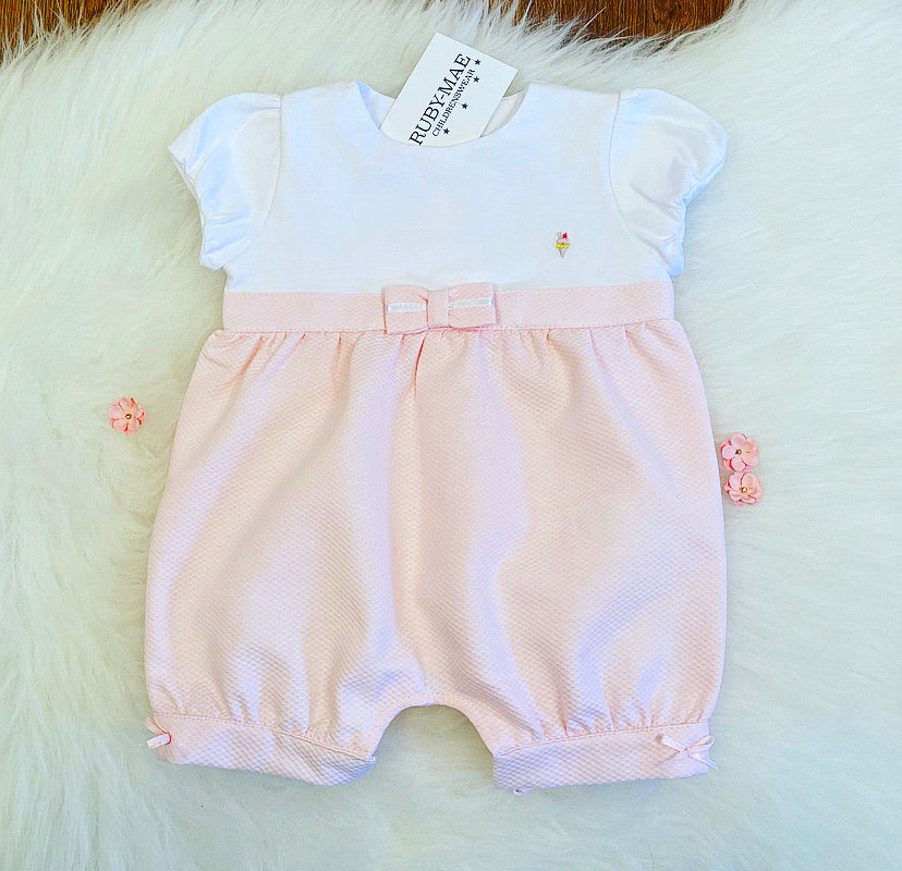 Pink And White Bow Front Romper - Megan
