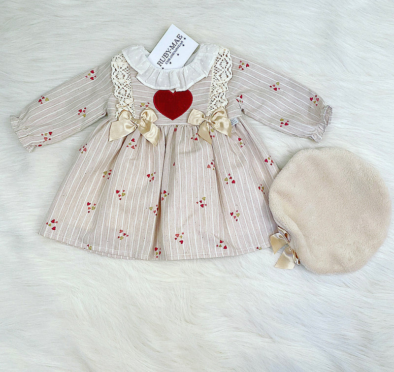 Beige Heart Bow Front Dress With Matching Beret Hat - Zaria