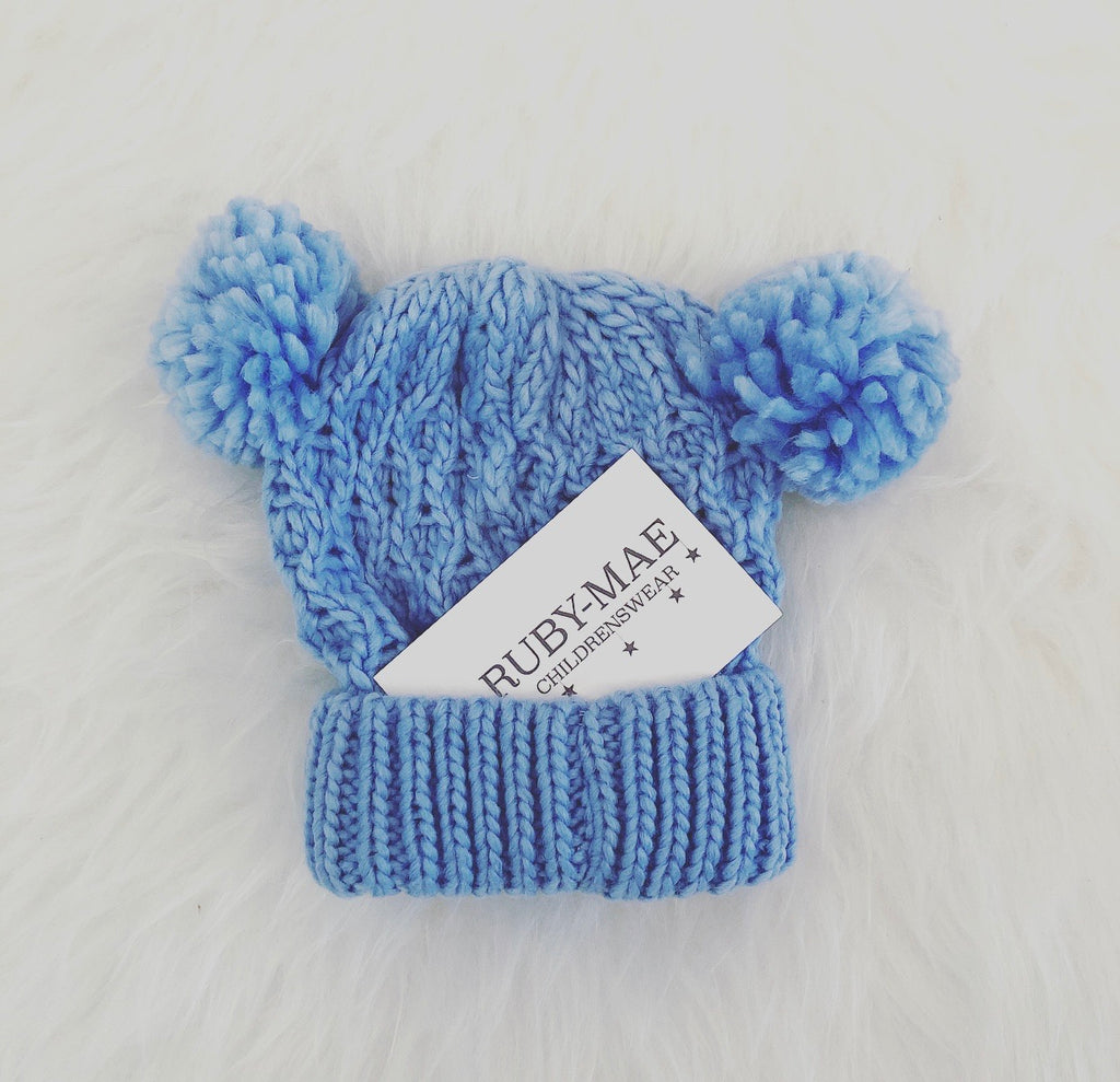 Blue Cable Knit Pom Pom Hat