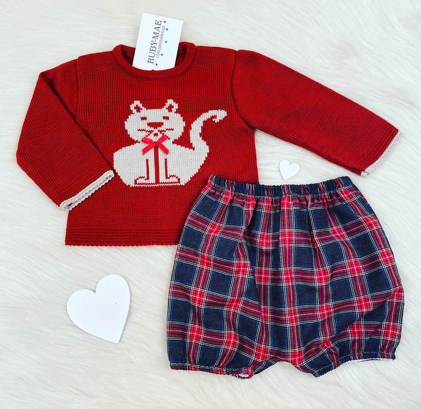 Burgundy Tartan Knitted Jumper & Shorts Outfit - Easton