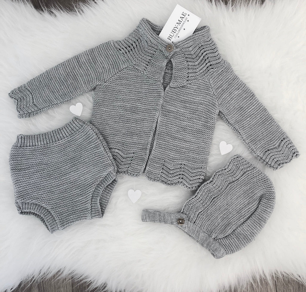 UNISEX Grey Knitted Jacket & Briefs With Matching Bonnet