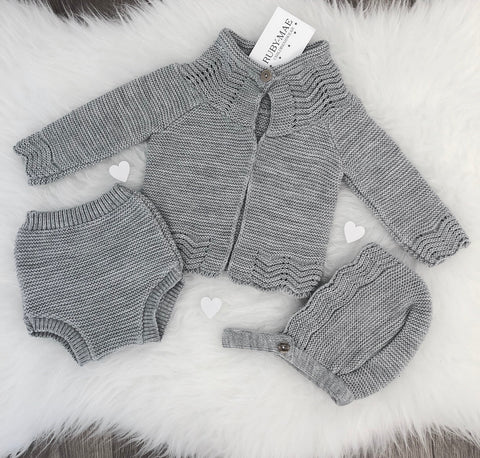 Grey Long Leg Knitted Two Piece - Ralphy