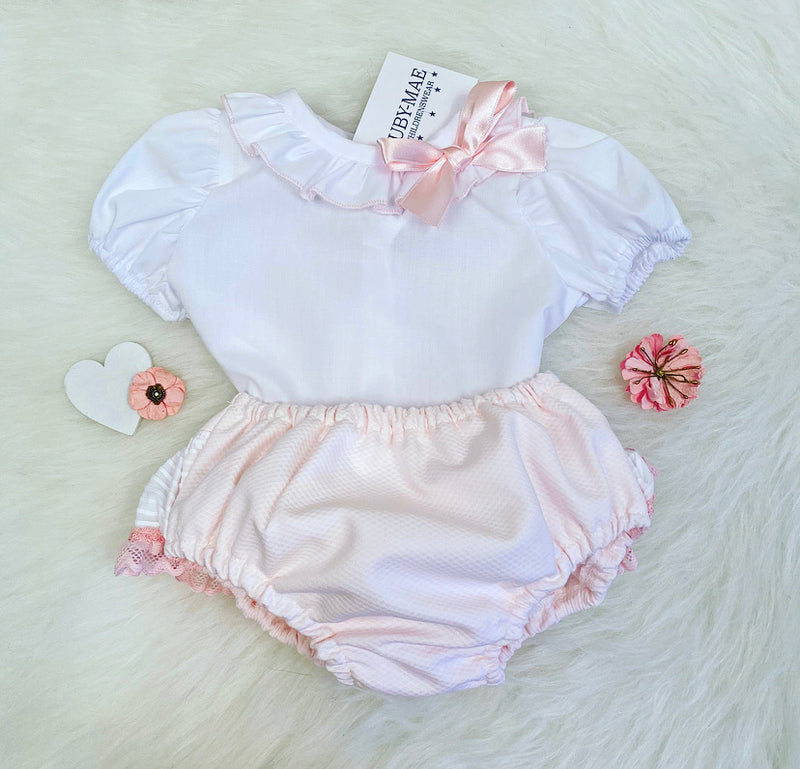 White & Pink Blouse And Frill Jam Pants Outfit - Karmen