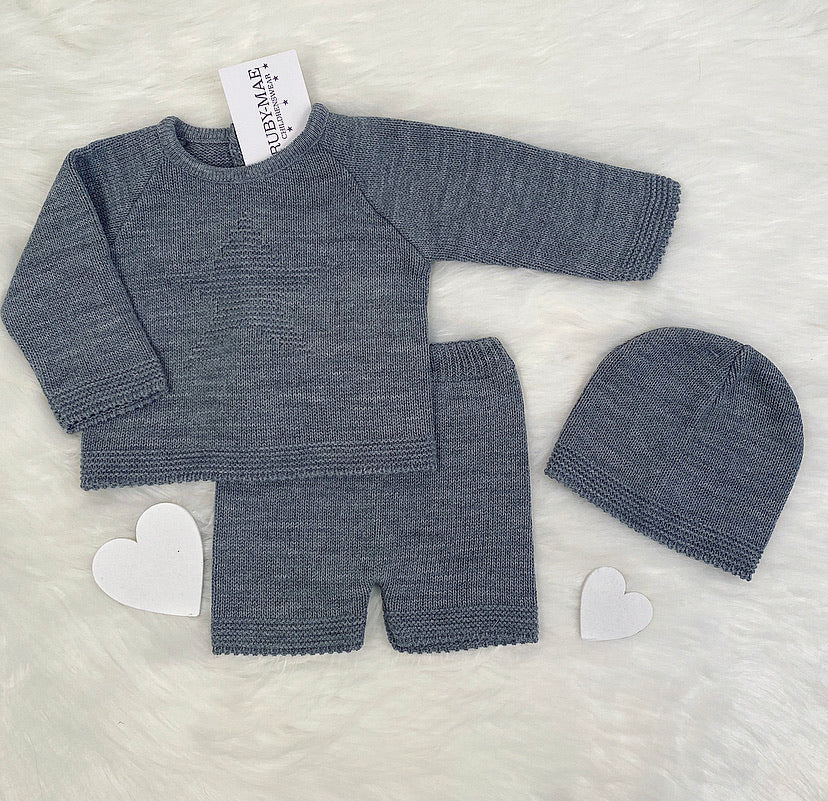 Dark Grey Star Knitted Jumper And Short With Matching Hat Outfit - Jamie