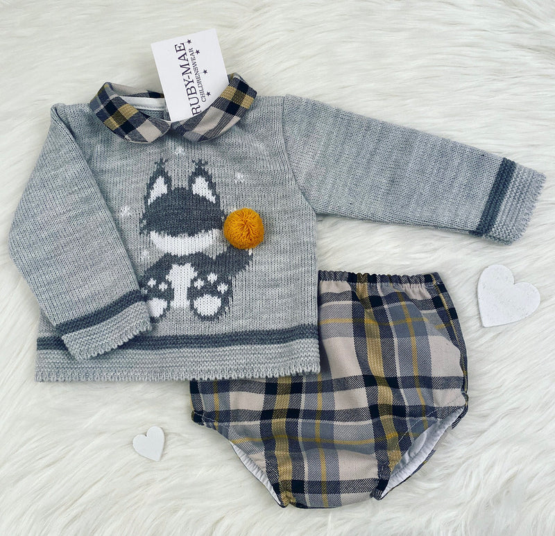 Grey Check Knitted Jumper & Shorts Outfit - Easton