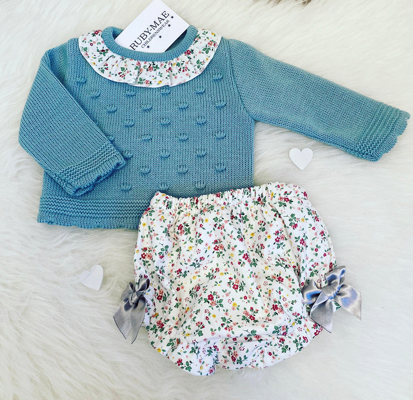 Teal Knitted Detailed Jumper And Jam Pants Outfit Set- Kathryn