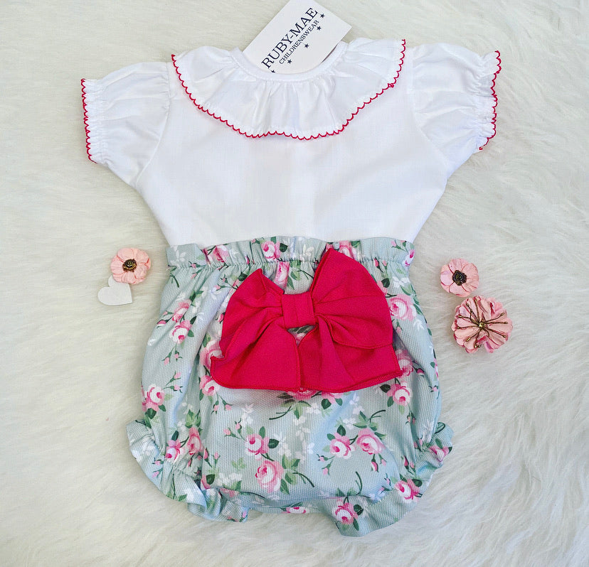 White & Green Floral Printed Bow Front Outfit - Abi