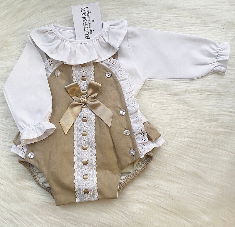 PREMIUM Camel And White Lace Ruffle Detail Dungaree Outfit - Victoria